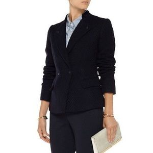 Vince Navy Blue Boucle Military Style Wool Blazer